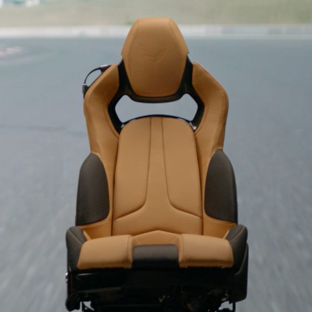 2020 Chevrolet Corvette Mid-Engine Sports Car Seating in Camel